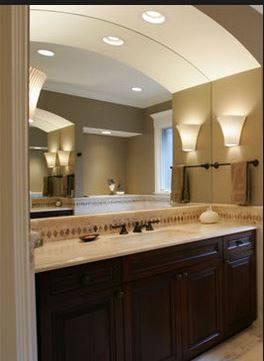 curved mirror design bathroom